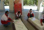 داوطلبان هلال احمر بهاباد قبور شهدای گمنام را گلباران کردند